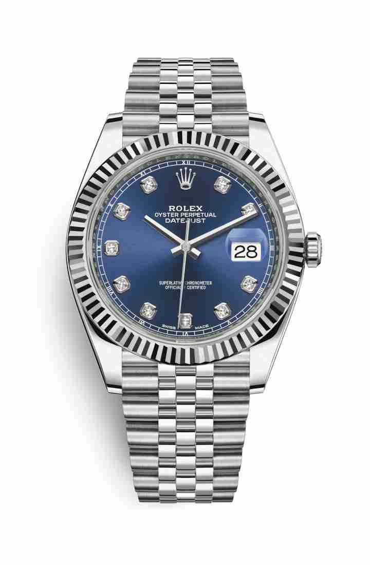 Rolex Datejust 41 White gold 126334 Blue diamonds Watch Replica