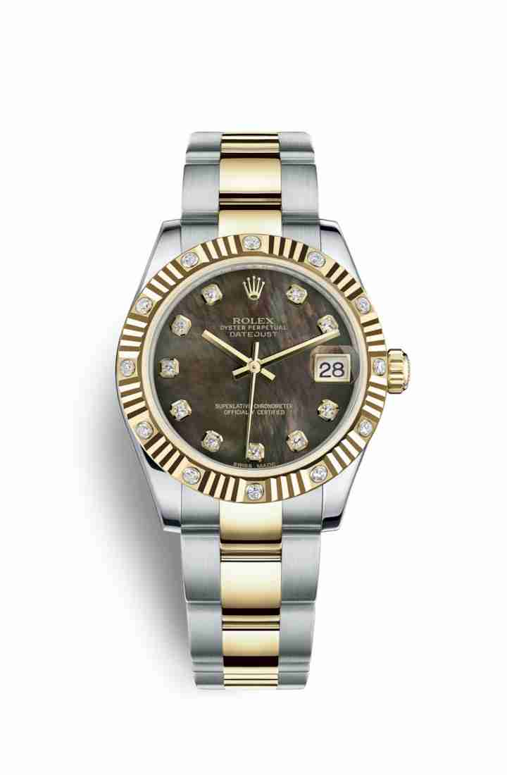 Rolex Datejust 31 Yellow 178313 Black mother-of-pearl diamonds Watch Replica