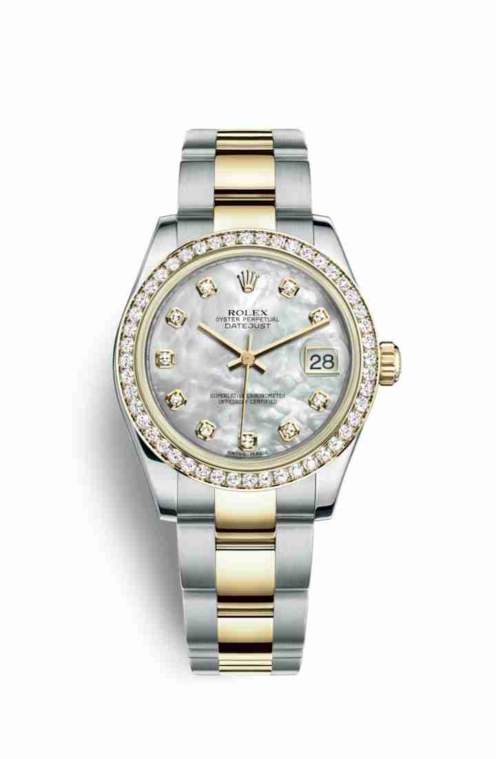 Rolex Datejust 31 Yellow 178383 White mother-of-pearl diamonds Watch Replica