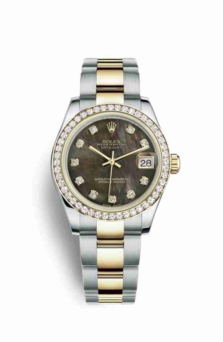 Rolex Datejust 31 Yellow 178383 Black mother-of-pearl diamonds Watch Replica