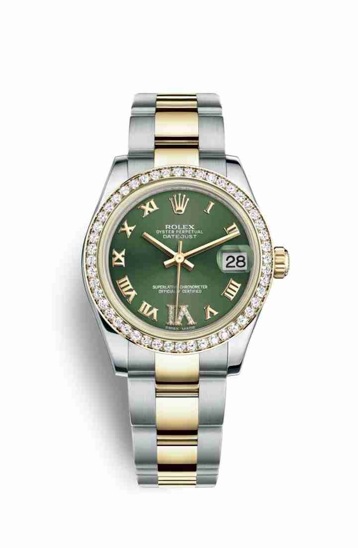 Rolex Datejust 31 Yellow 178383 Olive green diamonds Watch Replica