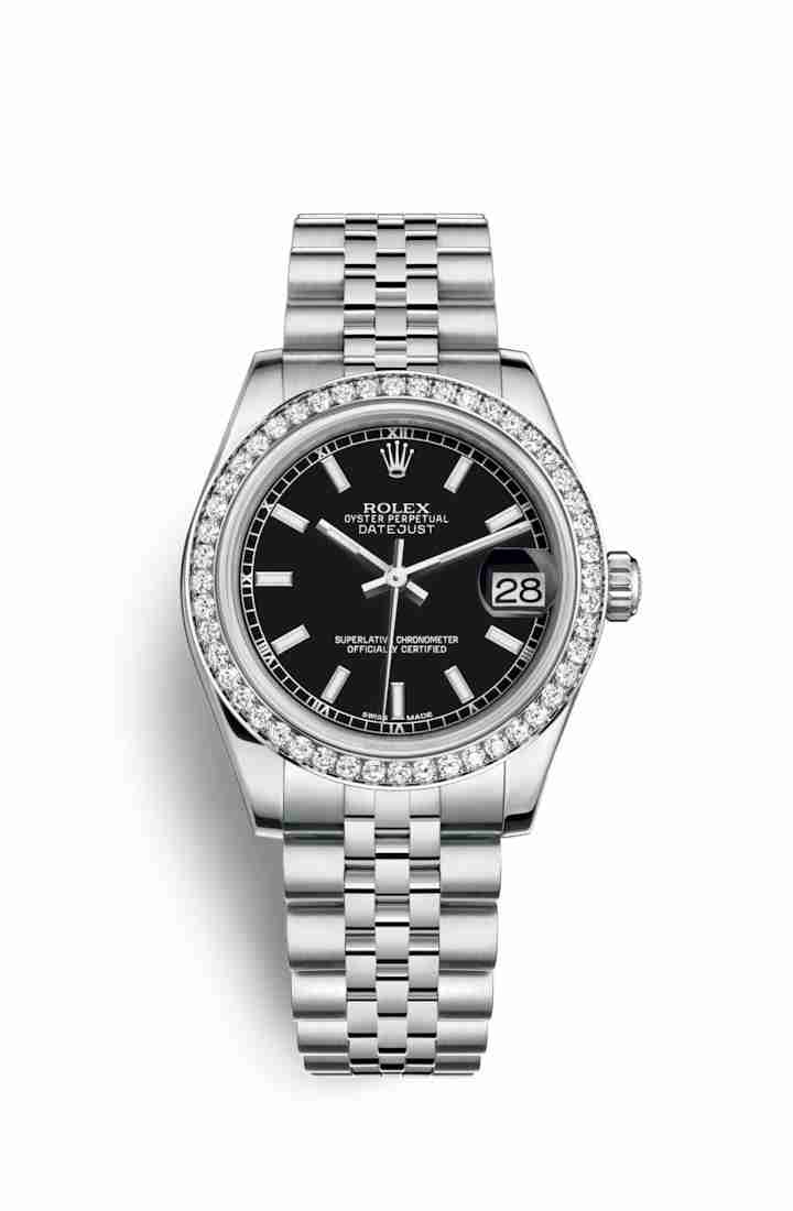 Rolex Datejust 31 White gold 178384 Black Dial Watch Replica