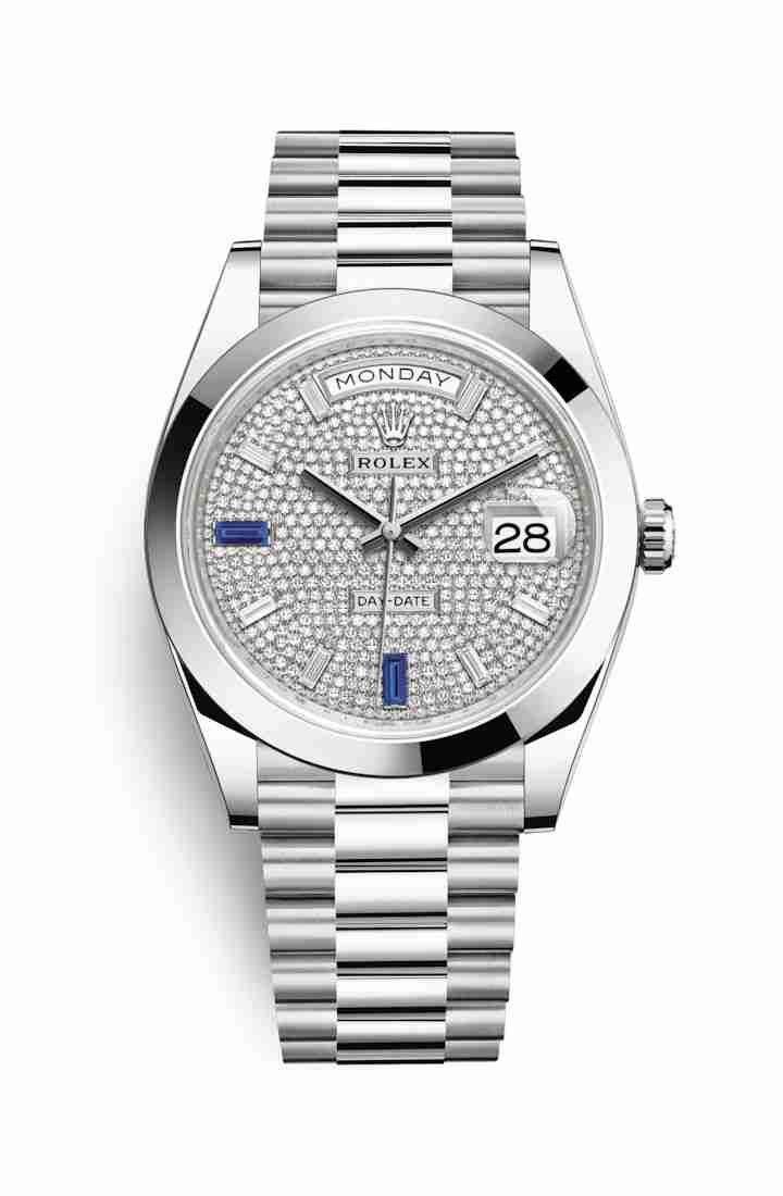 Rolex Day-Date 40 Platinum 228206 Paved diamonds sapphires Dial Watch Replica