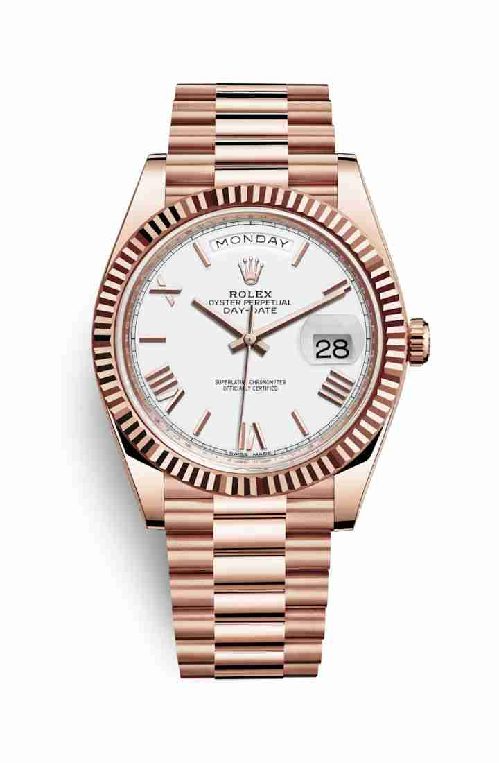 Rolex Day-Date 40 Everose gold 228235 White Dial Watch Replica