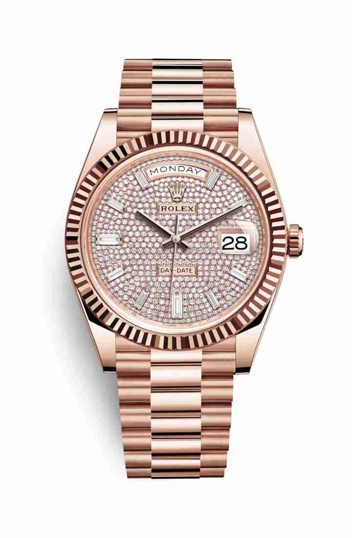 Rolex Day-Date 40 Everose gold 228235 Diamond-paved Dial Watch Replica