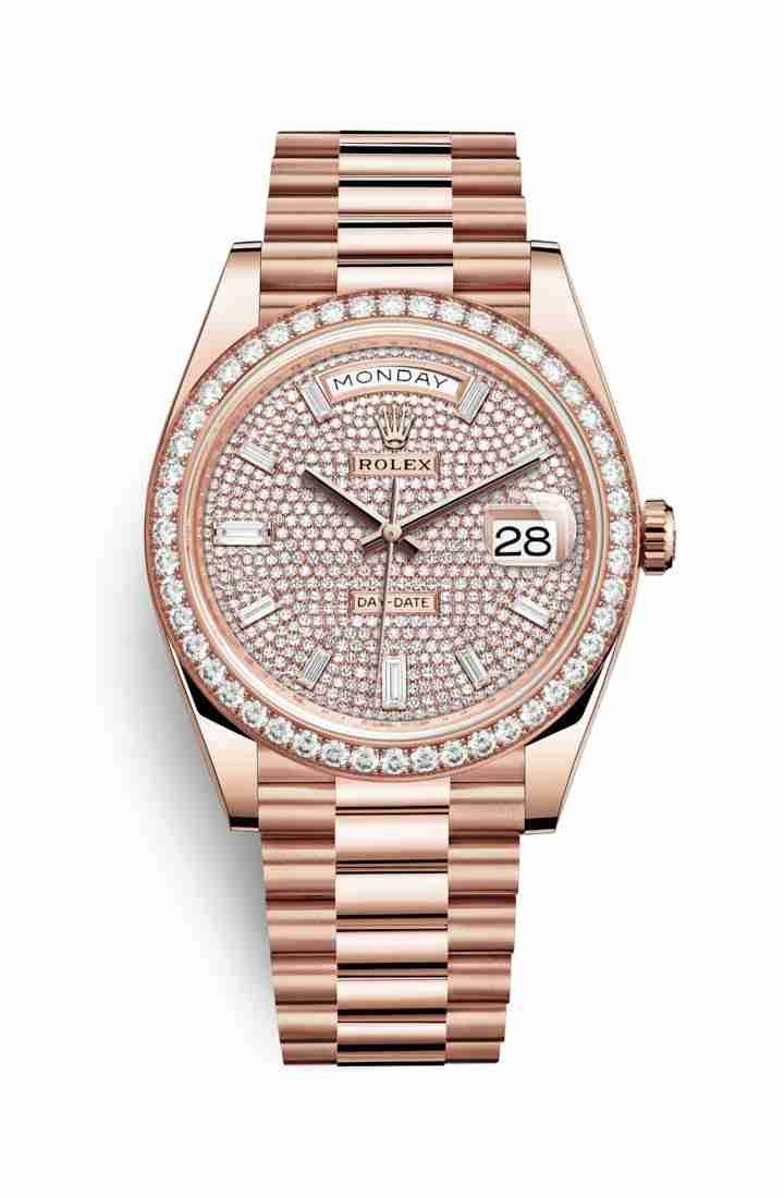 Rolex Day-Date 40 Everose gold 228345RBR Diamond-paved Dial Watch Replica