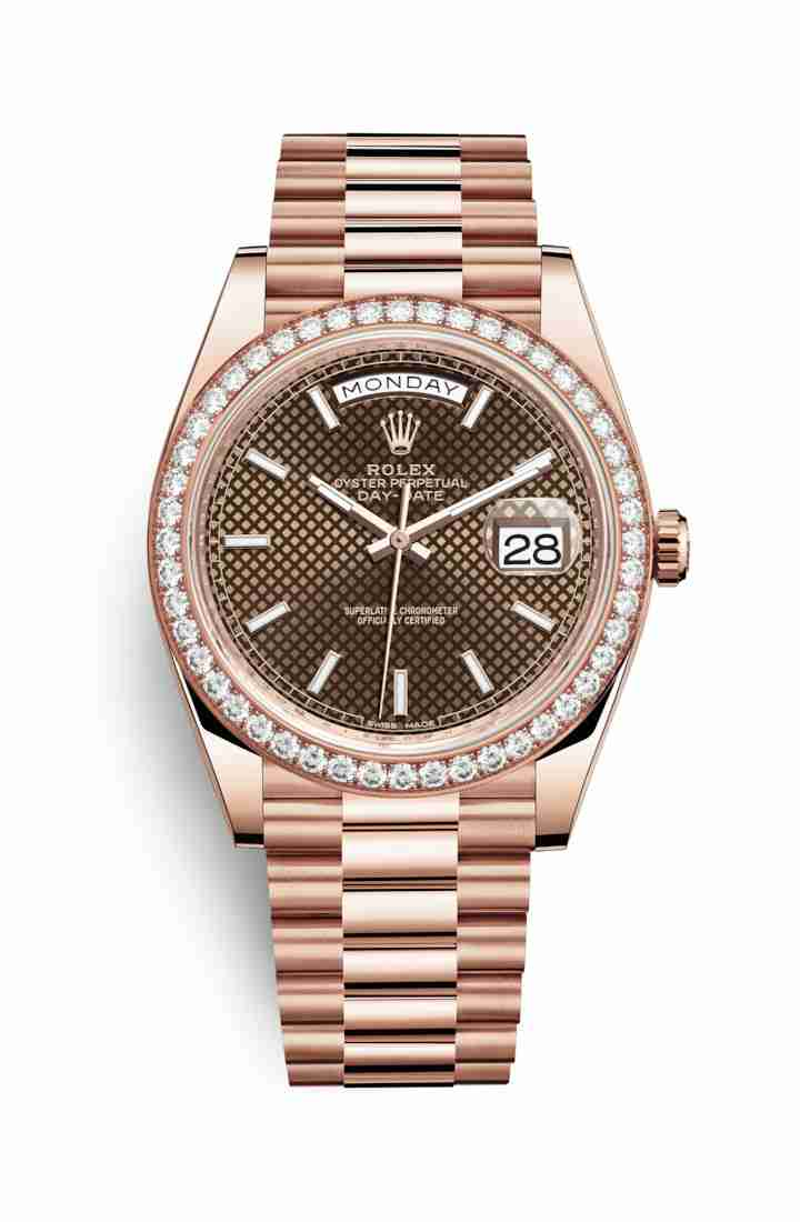 Rolex Day-Date 40 Everose gold 228345RBR Chocolate diagonal motif Dial Watch Replica