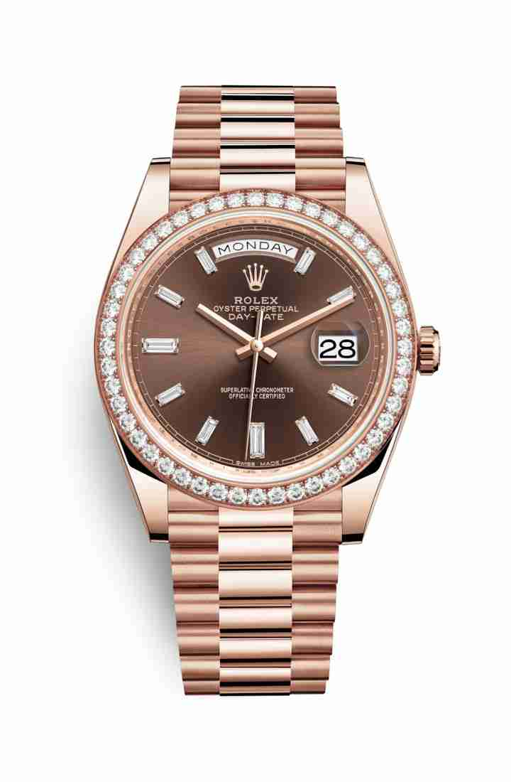 Rolex Day-Date 40 Everose gold 228345RBR Chocolate diamonds Watch Replica