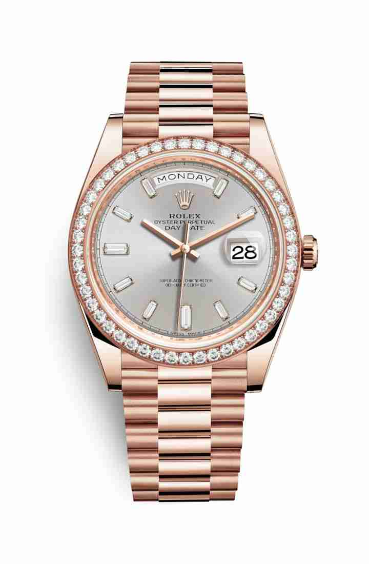Rolex Day-Date 40 Everose gold 228345RBR Sundust diamonds Watch Replica