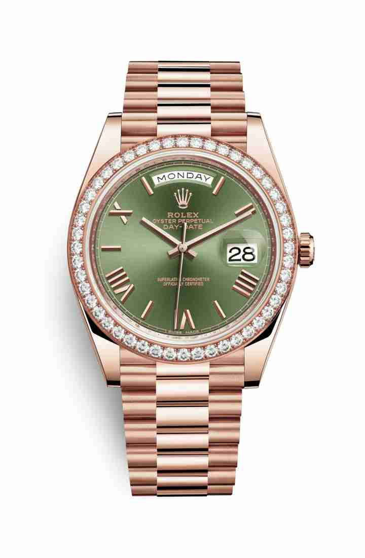 Rolex Day-Date 40 Everose gold 228345RBR Olive green Dial Watch Replica