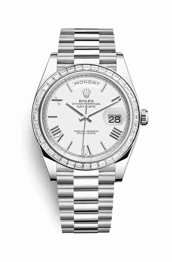 Rolex Day-Date 40 Platinum 228396TBR White Dial Watch Replica