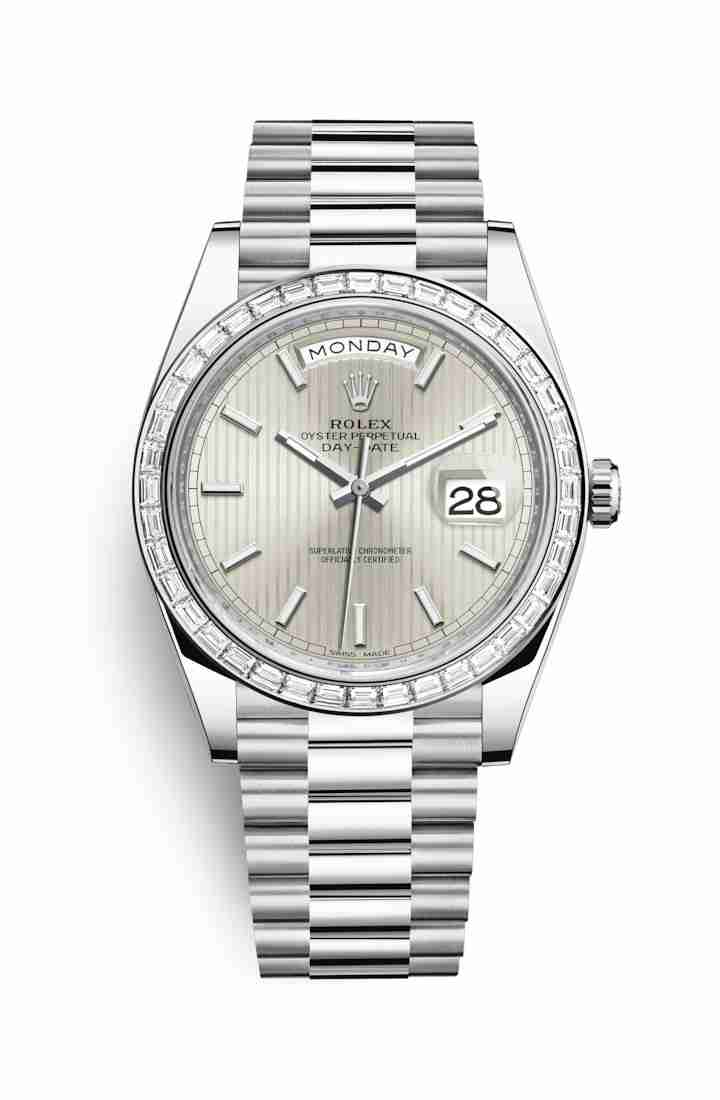 Rolex Day-Date 40 Platinum 228396TBR Silver stripe motif Dial Watch Replica