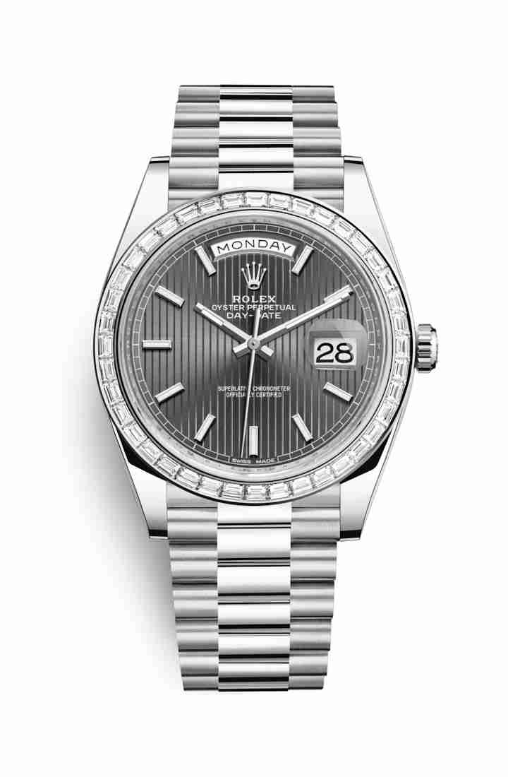 Rolex Day-Date 40 Platinum 228396TBR Dark rhodium stripe motif Dial Watch Replica