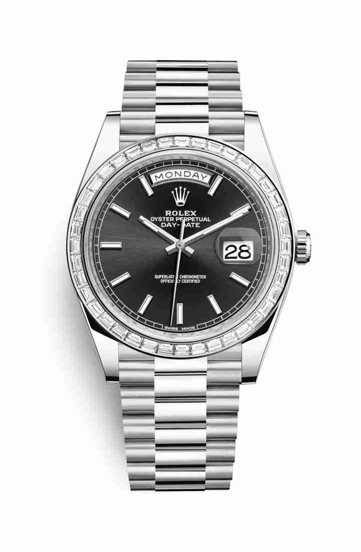 Rolex Day-Date 40 Platinum 228396TBR Black Dial Watch Replica