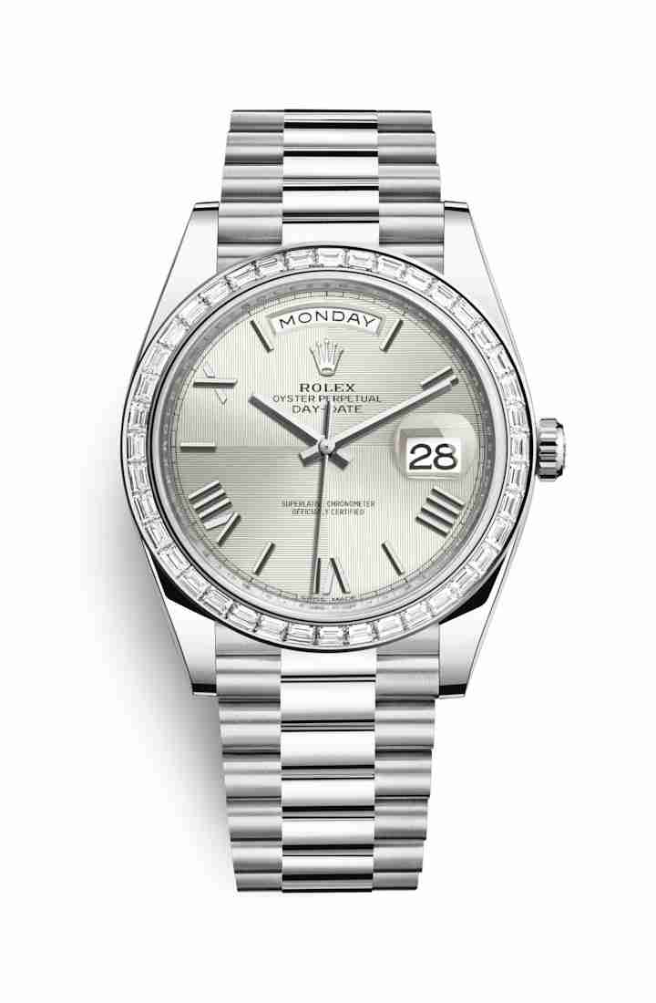 Rolex Day-Date 40 Platinum 228396TBR Silver quadrant motif Dial Watch Replica