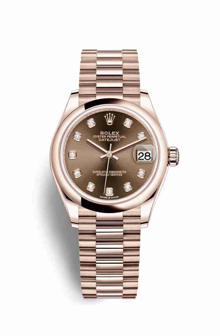 Rolex Datejust 31 Everose gold 278245 Chocolate diamonds Watch Replica