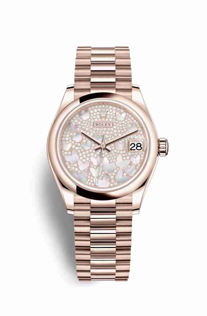 Rolex Datejust 31 Everose gold 278245 Paved mother-of-pearl butterfly Dial Watch Replica