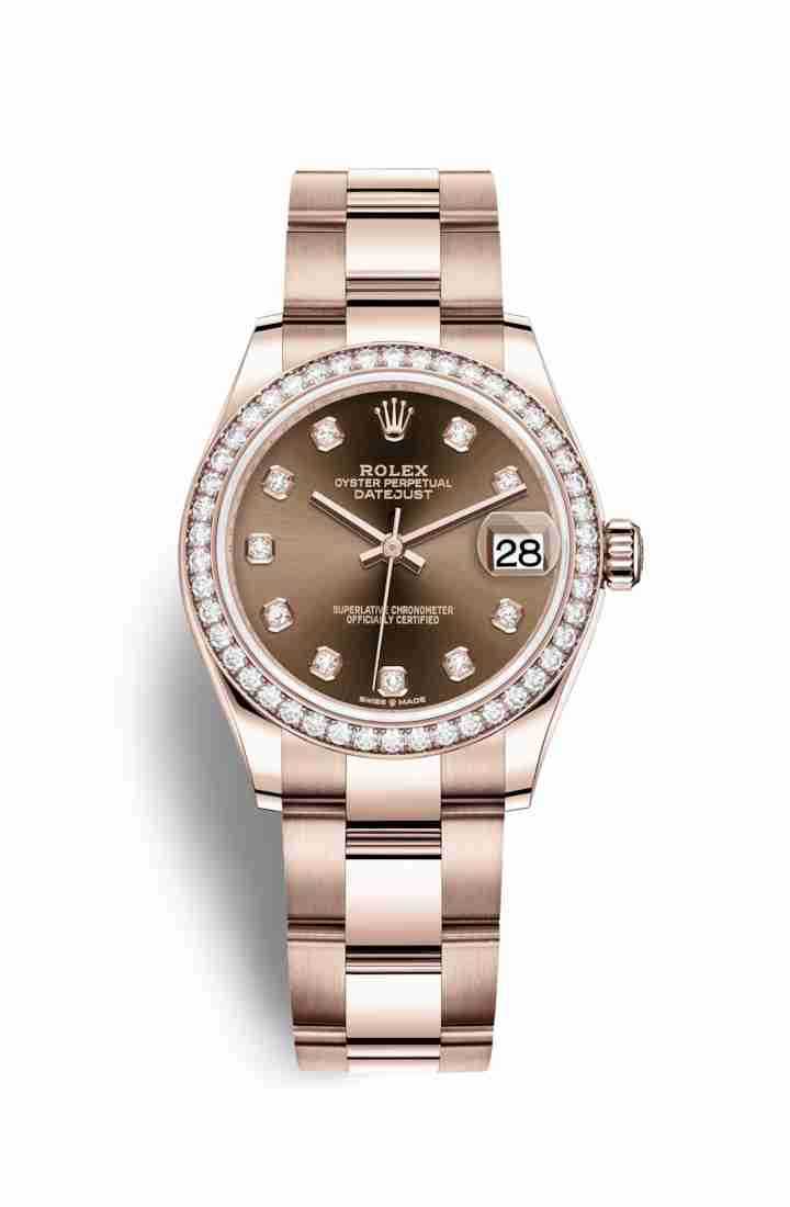 Rolex Datejust 31 Everose gold 278285RBR Chocolate diamonds Watch Replica