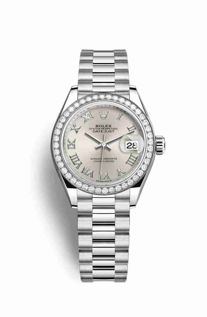 Rolex Datejust 28 Platinum 279136RBR Silver Dial Watch Replica
