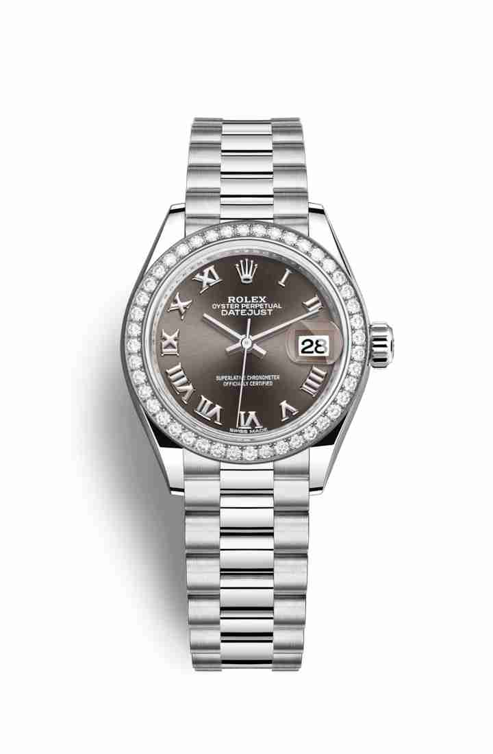 Rolex Datejust 28 Platinum 279136RBR Dark grey Dial Watch Replica