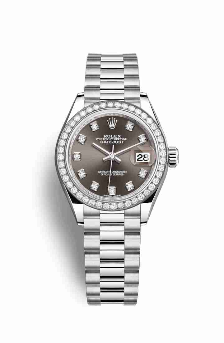Rolex Datejust 28 Platinum 279136RBR Dark grey diamonds Watch Replica
