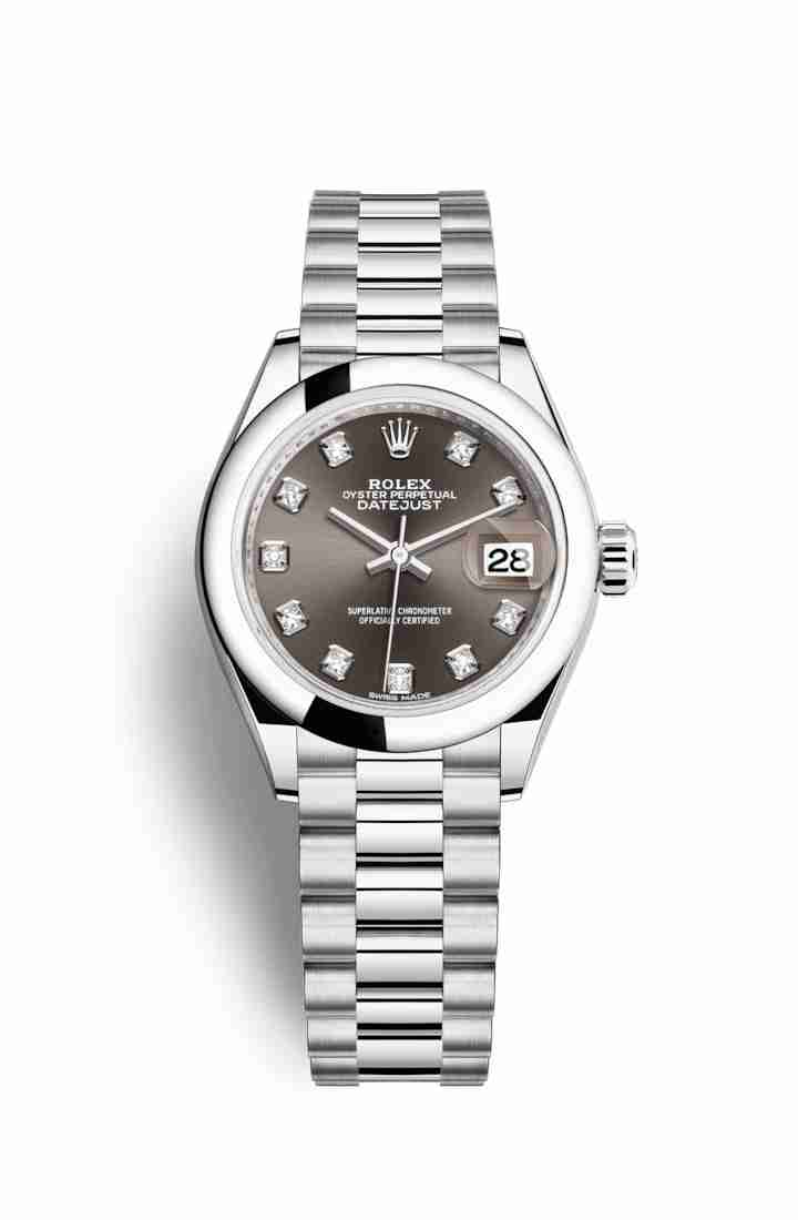 Rolex Datejust 28 Platinum 279166 Dark grey diamonds Watch Replica
