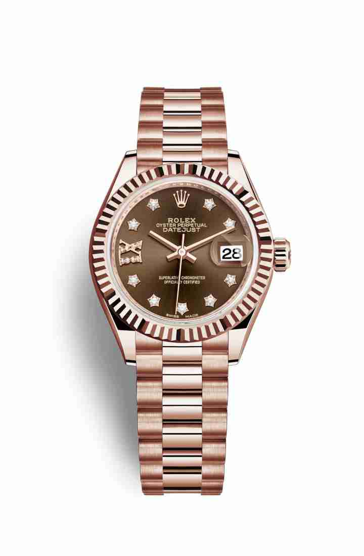 Rolex Datejust 28 Everose gold 279175 Chocolate diamonds Watch Replica
