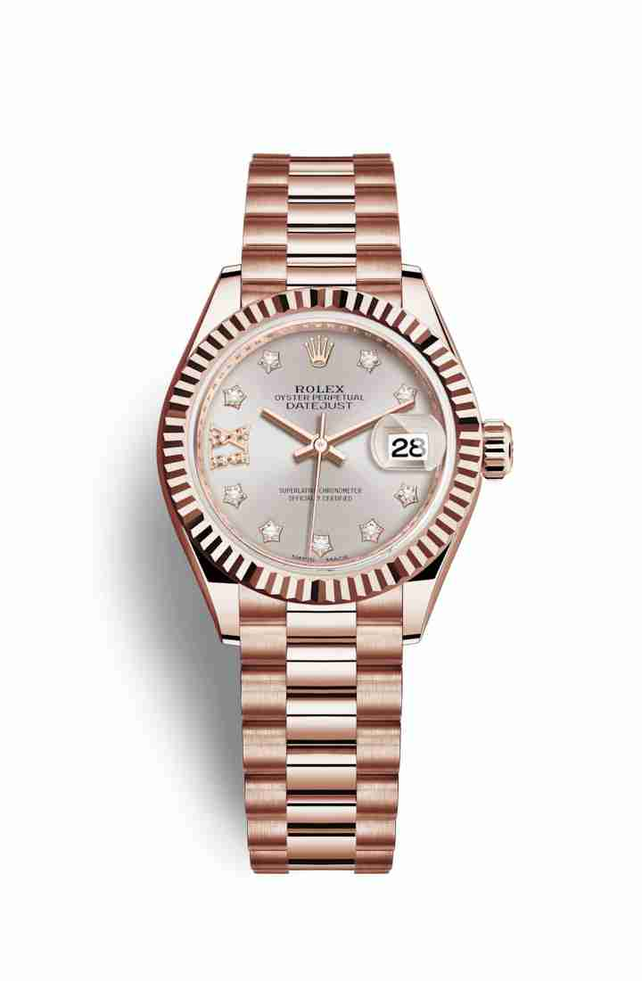Rolex Datejust 28 Everose gold 279175 Sundust diamonds Watch Replica