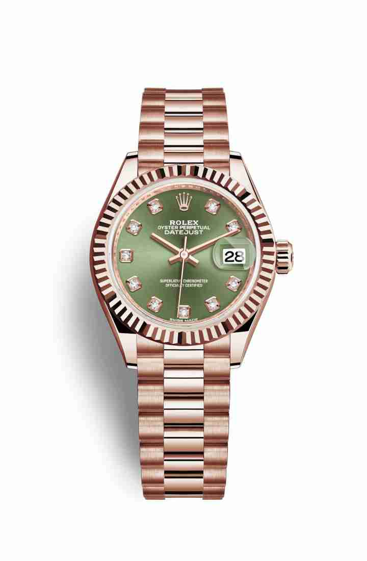 Rolex Datejust 28 Everose gold 279175 Olive green diamonds Watch Replica