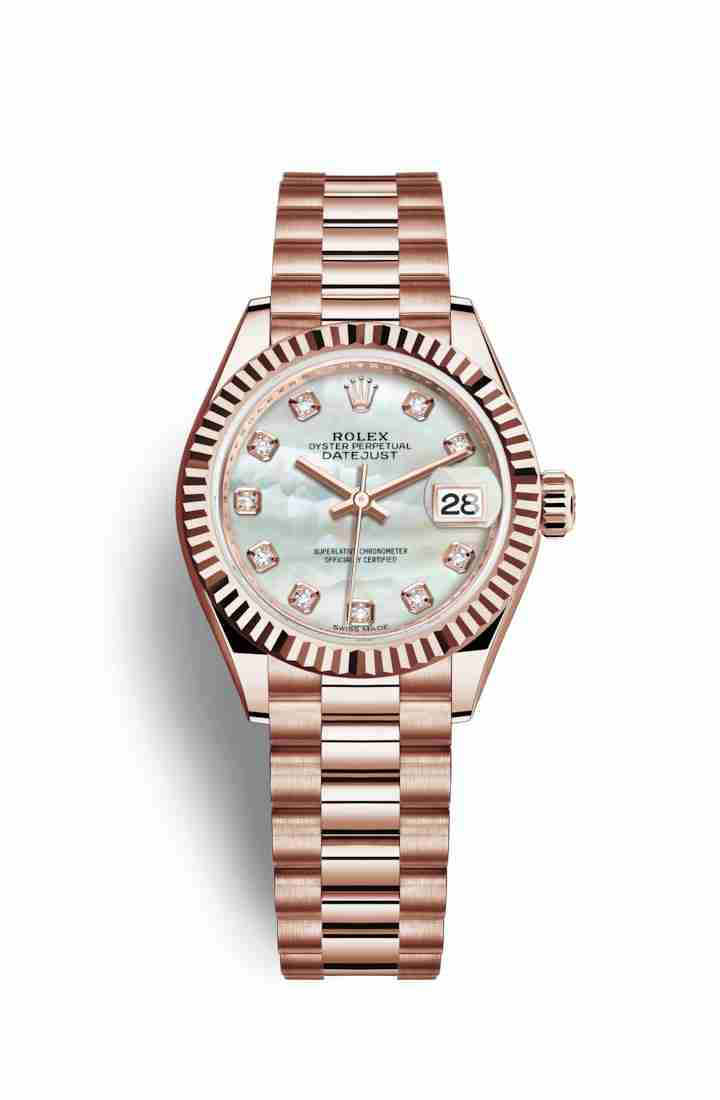 Rolex Datejust 28 Everose gold 279175 White mother-of-pearl diamonds Watch Replica