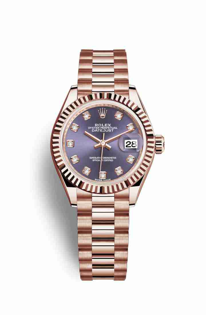 Rolex Datejust 28 Everose gold 279175 Aubergine diamonds Watch Replica