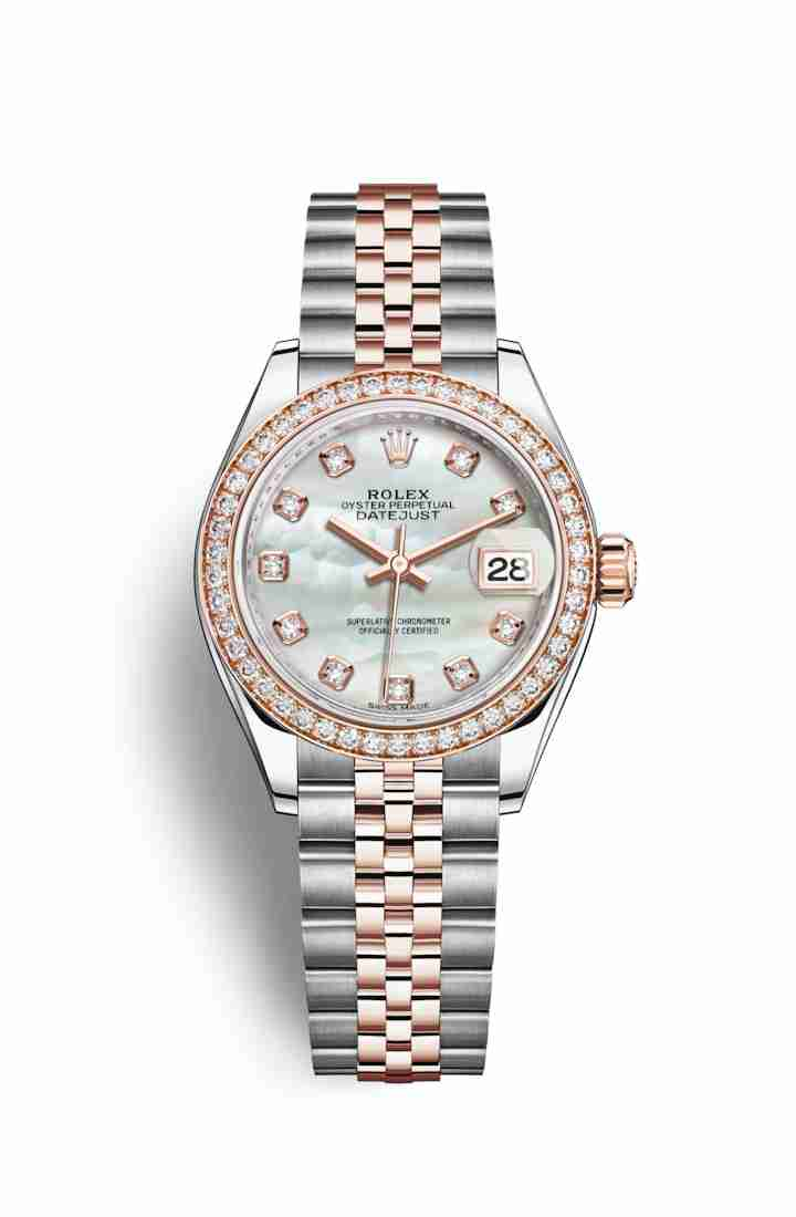 Rolex Datejust 28 Everose gold 279381RBR White mother-of-pearl diamonds Watch Replica