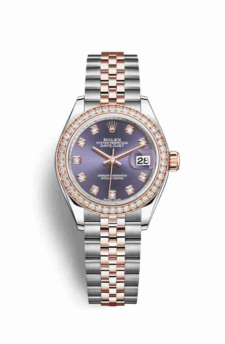 Rolex Datejust 28 Everose gold 279381RBR Aubergine diamonds Watch Replica