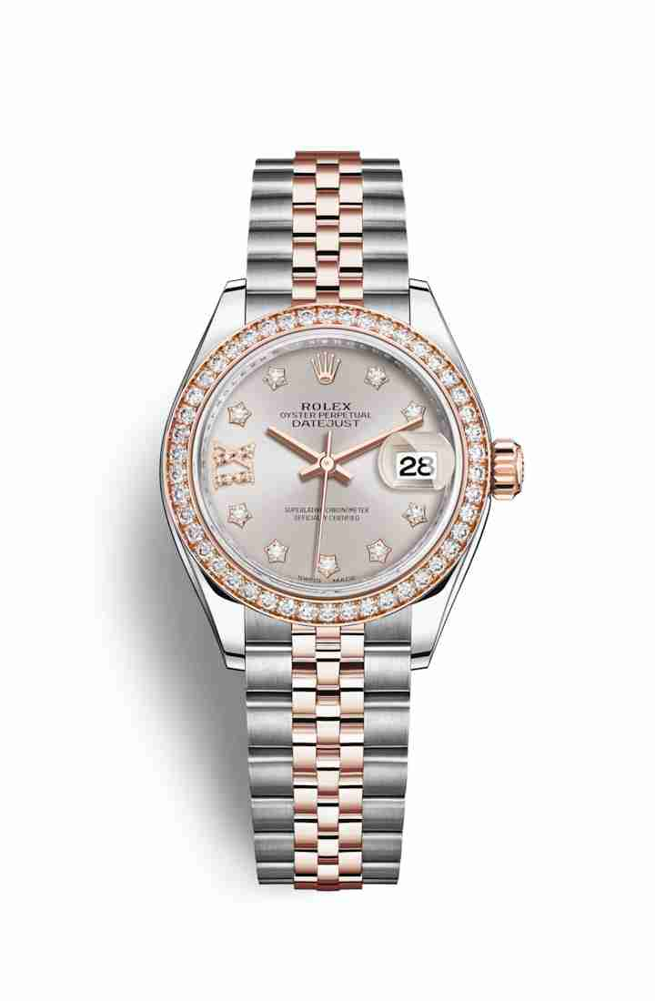 Rolex Datejust 28 Everose gold 279381RBR Sundust diamonds Watch Replica