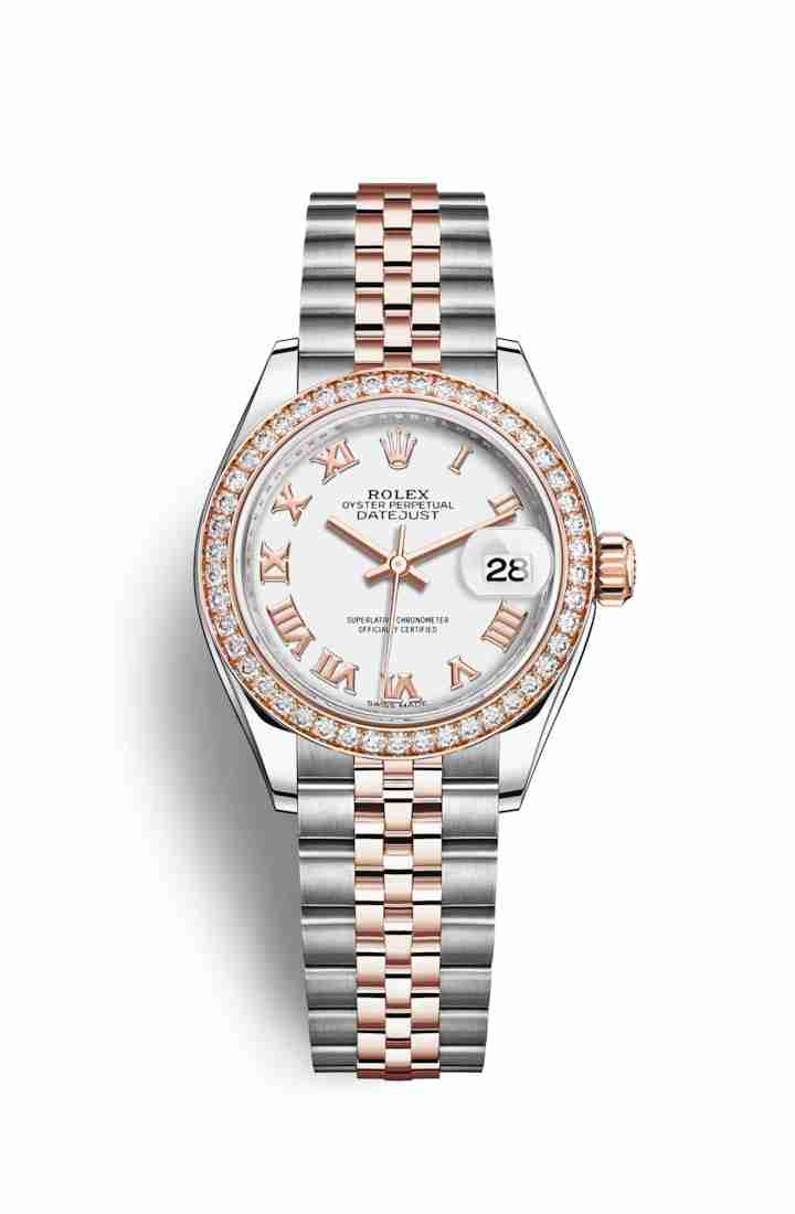 Rolex Datejust 28 Everose gold 279381RBR White Dial Watch Replica