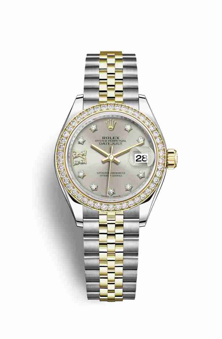 Rolex Datejust 28 Yellow 279383RBR Silver diamonds Watch Replica