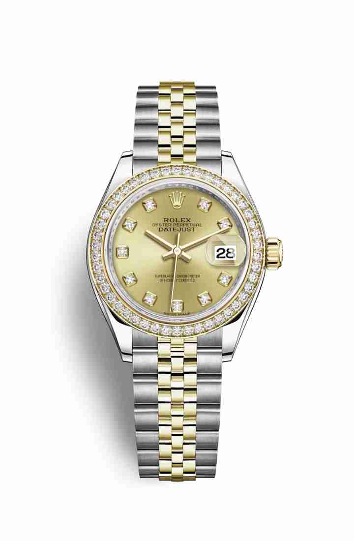 Rolex Datejust 28 Yellow 279383RBR Champagne diamonds Watch Replica