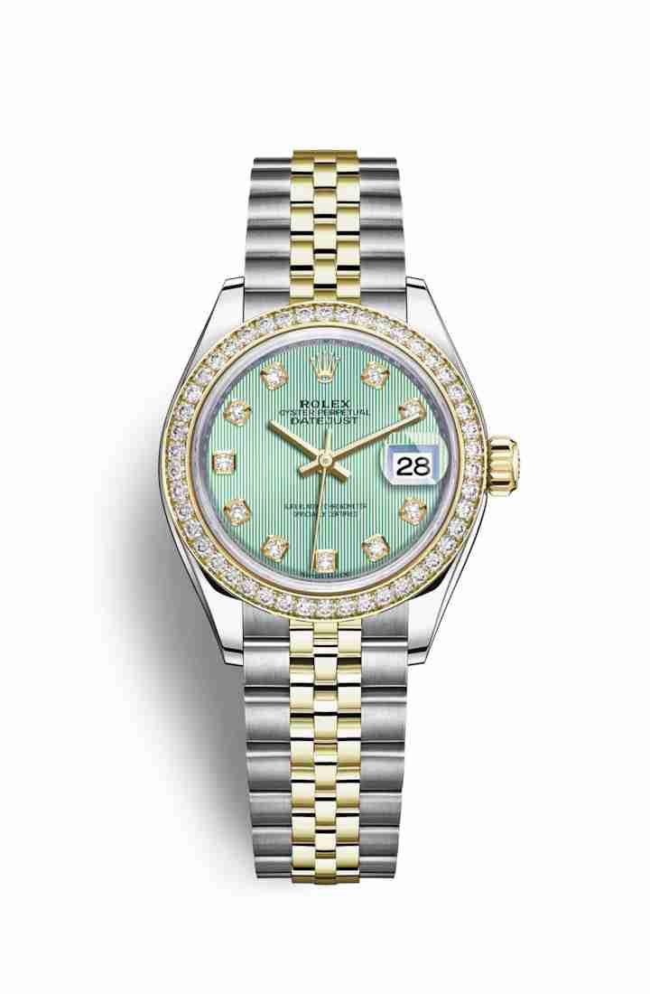 Rolex Datejust 28 Yellow 279383RBR Mint green diamonds Watch Replica