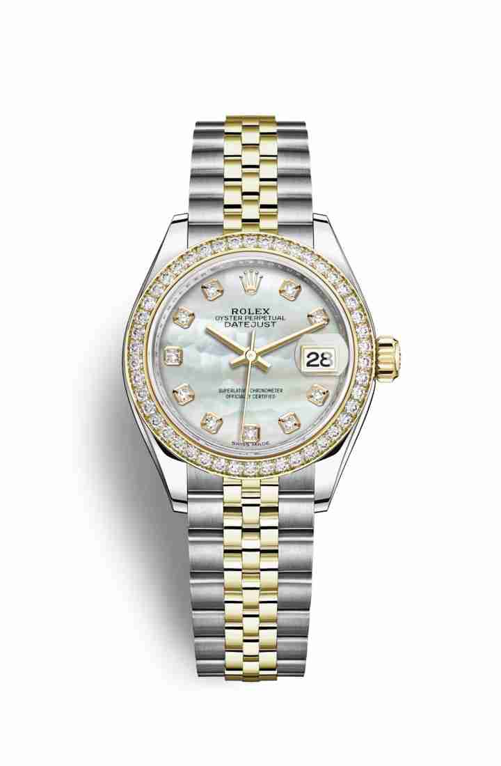 Rolex Datejust 28 Yellow 279383RBR White mother-of-pearl diamonds Watch Replica