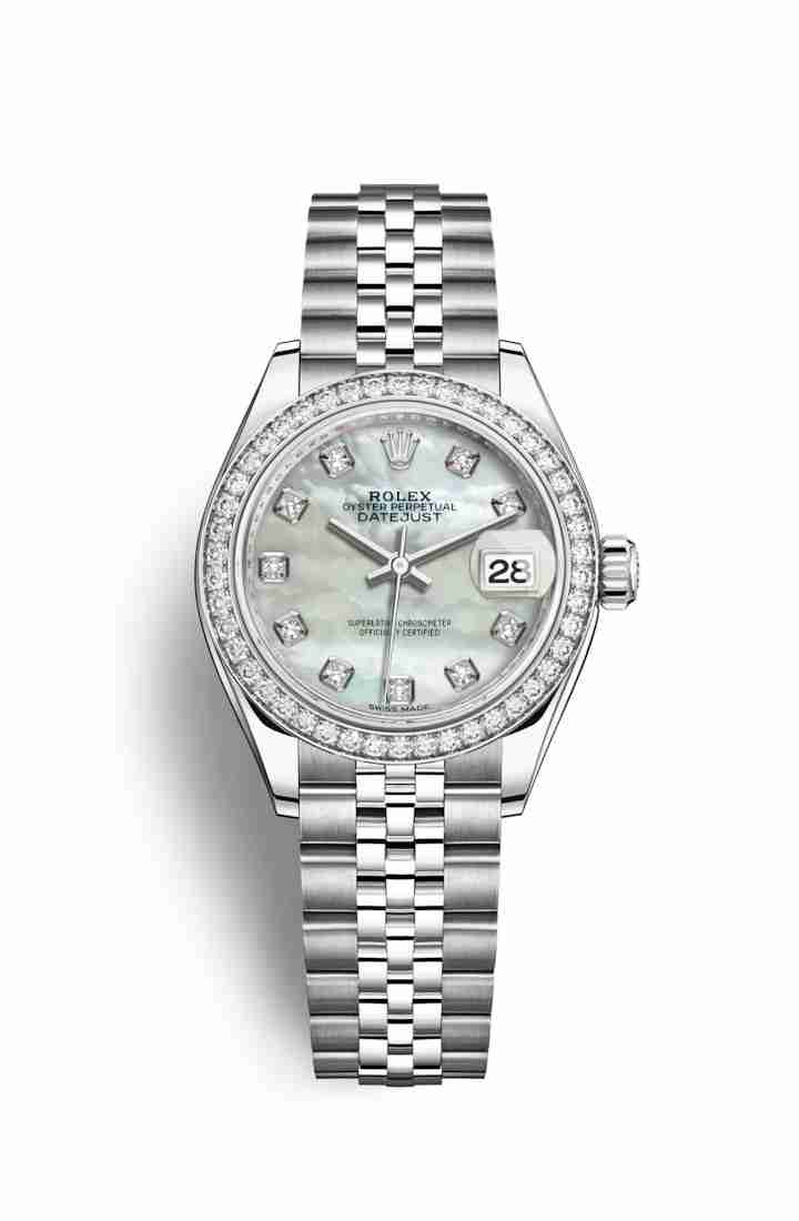 Rolex Datejust 28 White gold 279384RBR White mother-of-pearl diamonds Watch Replica