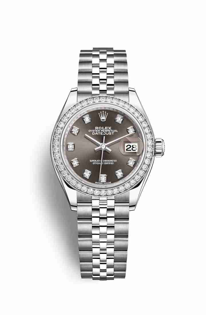Rolex Datejust 28 White gold 279384RBR Dark grey diamonds Watch Replica