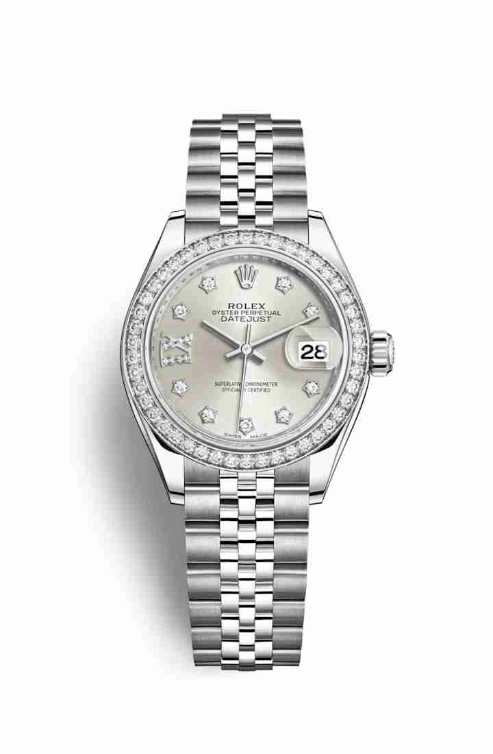 Rolex Datejust 28 White gold 279384RBR Silver diamonds Watch Replica
