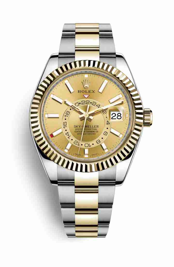Rolex Sky-Dweller Yellow 326933 Champagne Dial Watch Replica