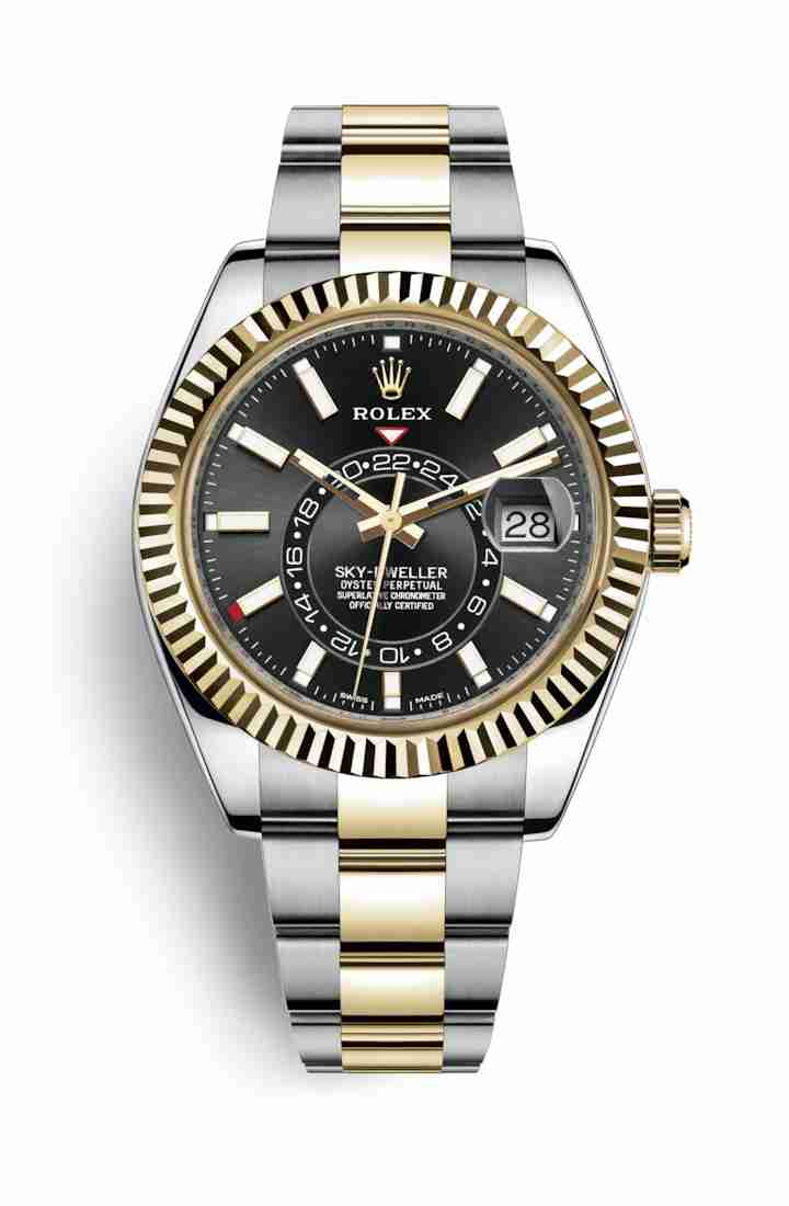 Rolex Sky-Dweller Yellow 326933 Black Dial Watch Replica