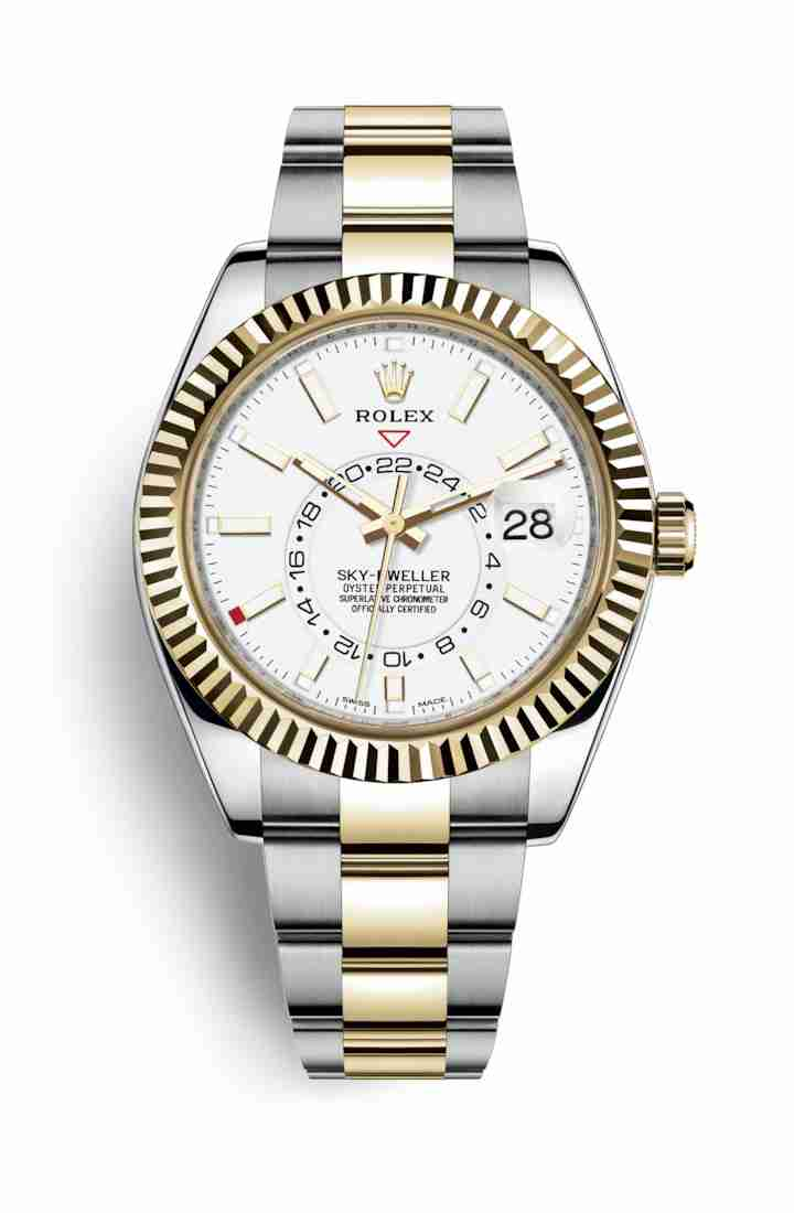 Rolex Sky-Dweller Yellow 326933 White Dial Watch Replica