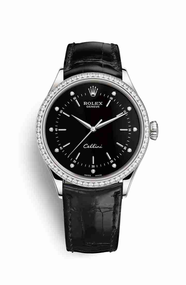 Rolex Cellini Time 50709RBR Black diamonds Watch Replica
