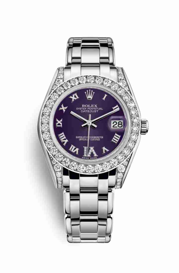 Rolex Pearlmaster 34 diamonds 81159 Purple diamonds Watch Replica