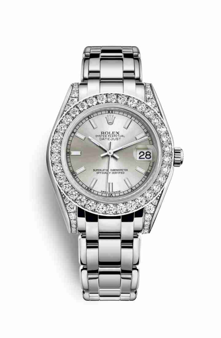 Rolex Pearlmaster 34 diamonds 81159 Silver Dial Watch Replica