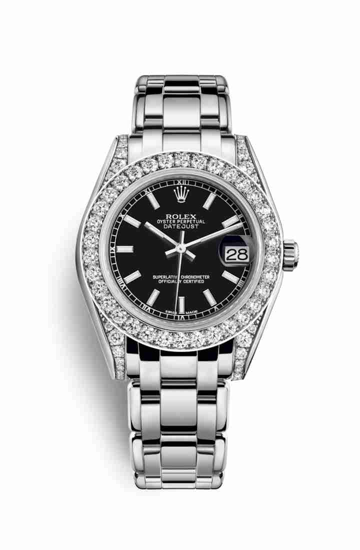 Rolex Pearlmaster 34 diamonds 81159 Black Dial Watch Replica