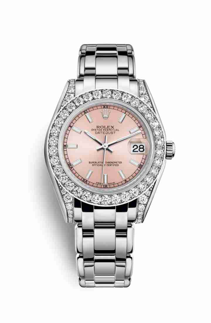 Rolex Pearlmaster 34 diamonds 81159 Pink Dial Watch Replica